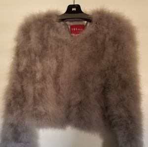 Light Grey Ostrich Feather Jacket